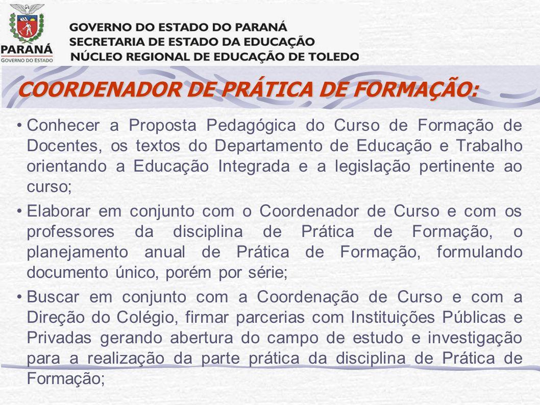 COORDENADOR DE PRÁTICA DE FORMAÇÃO: