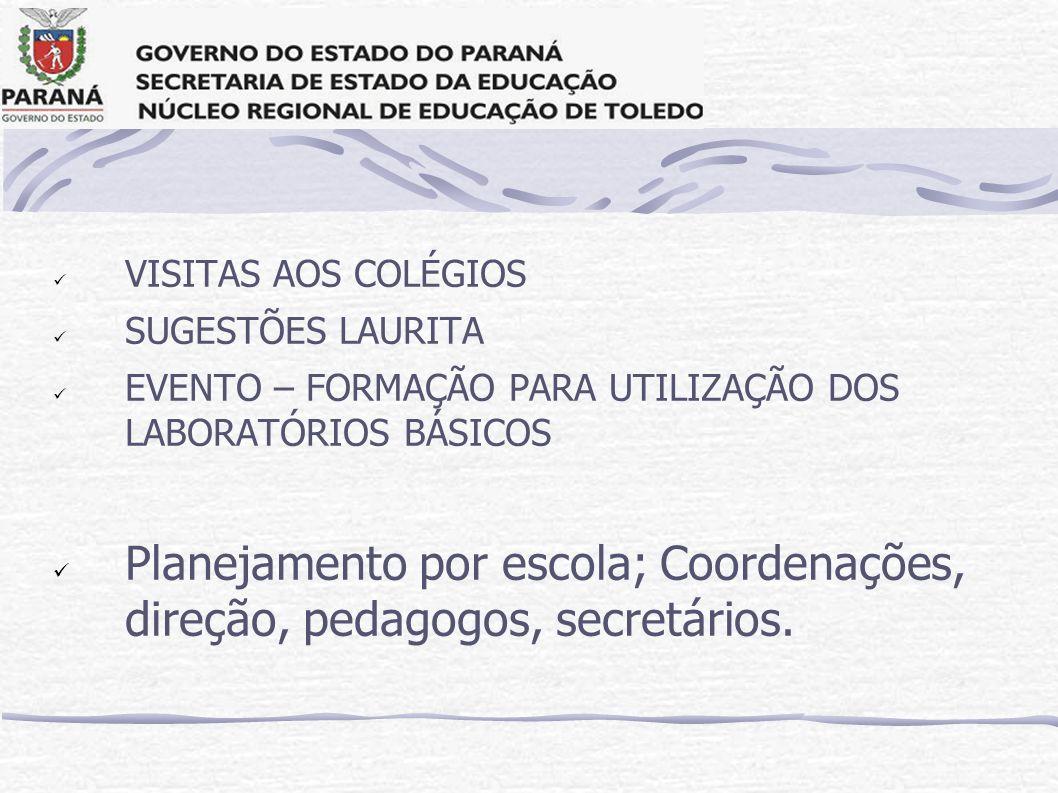 VISITAS AOS COLÉGIOS SUGESTÕES LAURITA. EVENTO – FORMAÇÃO PARA UTILIZAÇÃO DOS LABORATÓRIOS BÁSICOS.