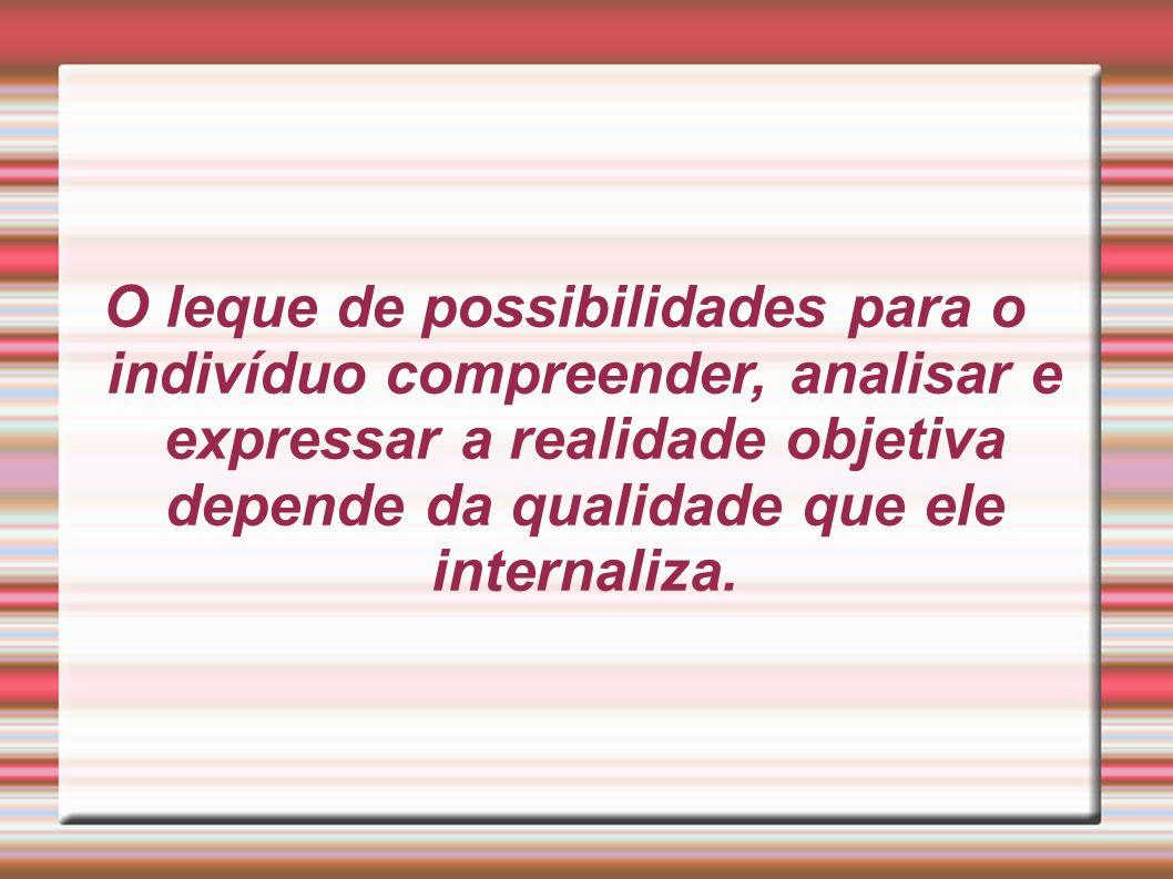 O leque de possibilidades para o indivíduo compreender, analisar e expressar a realidade objetiva depende da qualidade que ele internaliza.