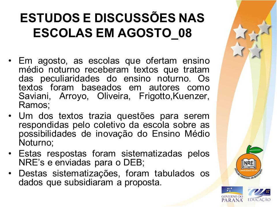 ESTUDOS E DISCUSSÕES NAS ESCOLAS EM AGOSTO_08