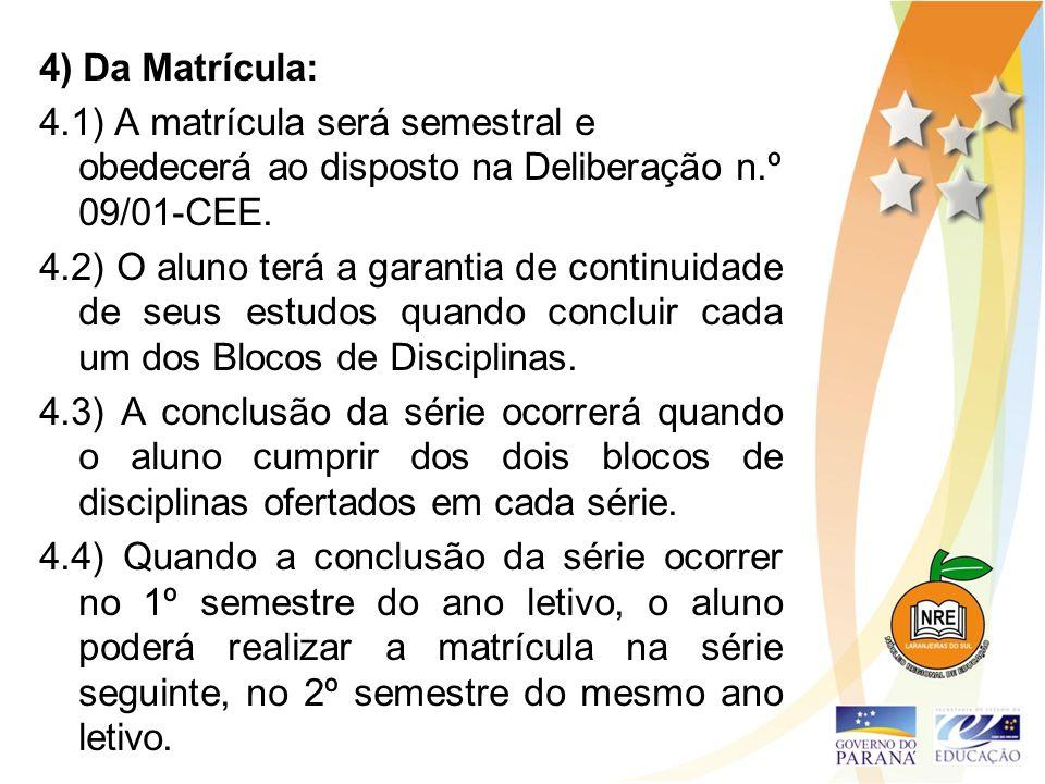 4) Da Matrícula: 4.1) A matrícula será semestral e obedecerá ao disposto na Deliberação n.º 09/01-CEE.