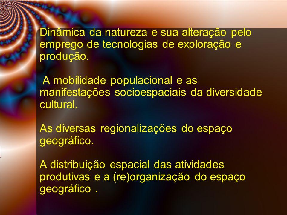 Dinâmica da natureza e sua alteração pelo emprego de tecnologias de exploração e produção.