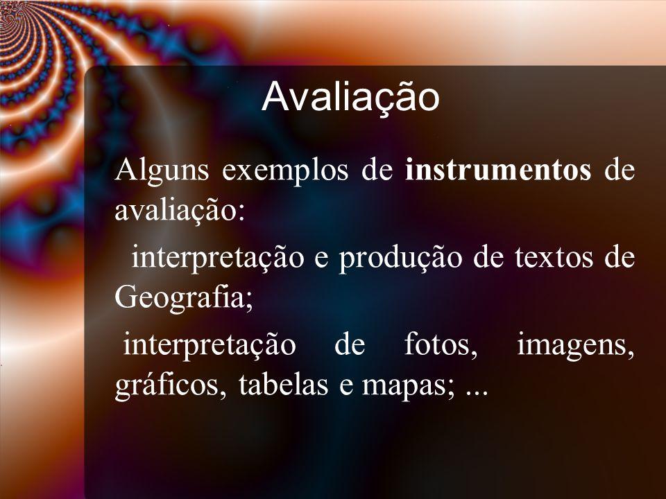 Avaliação interpretação e produção de textos de Geografia;