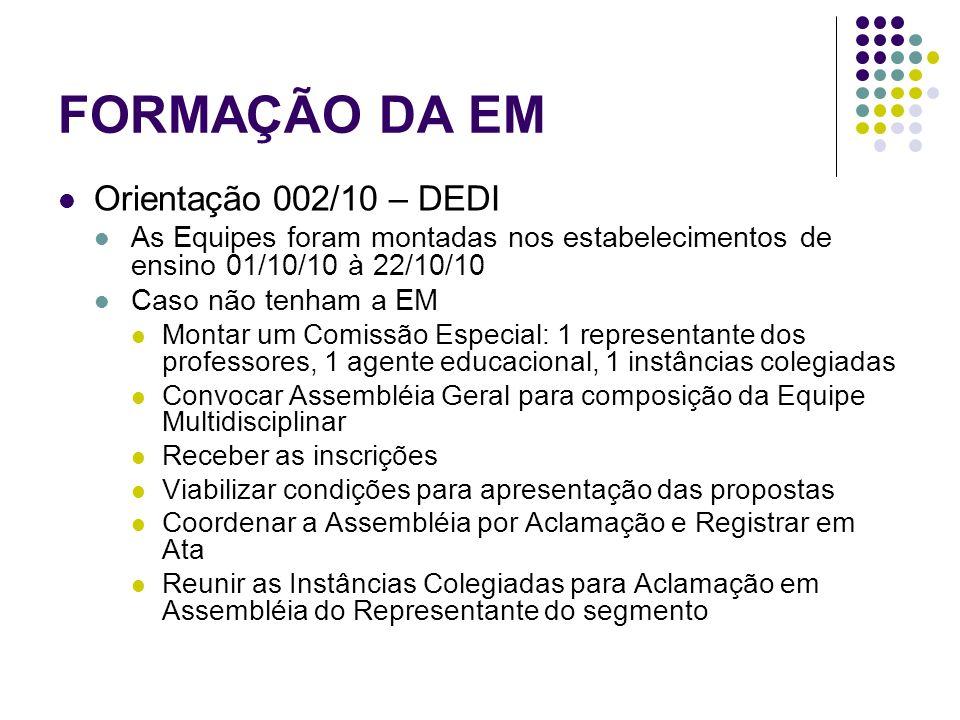 FORMAÇÃO DA EM Orientação 002/10 – DEDI