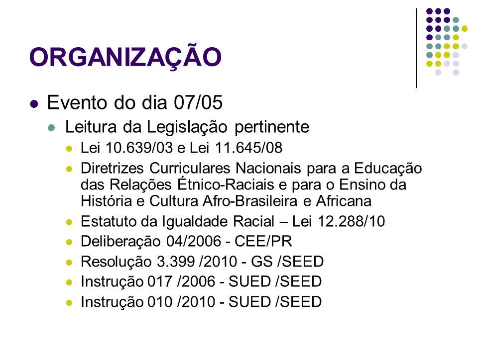 ORGANIZAÇÃO Evento do dia 07/05 Leitura da Legislação pertinente