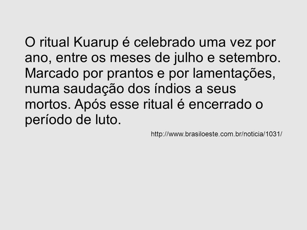 O ritual Kuarup é celebrado uma vez por ano, entre os meses de julho e setembro. Marcado por prantos e por lamentações, numa saudação dos índios a seus mortos. Após esse ritual é encerrado o período de luto.