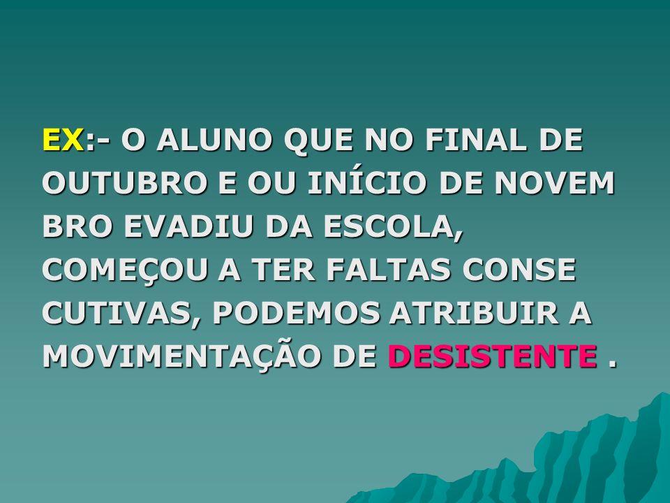 EX:- O ALUNO QUE NO FINAL DE
