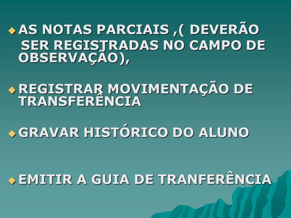 AS NOTAS PARCIAIS ,( DEVERÃO