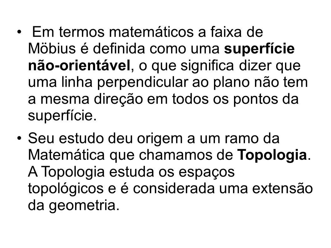 Em termos matemáticos a faixa de Möbius é definida como uma superfície não-orientável, o que significa dizer que uma linha perpendicular ao plano não tem a mesma direção em todos os pontos da superfície.
