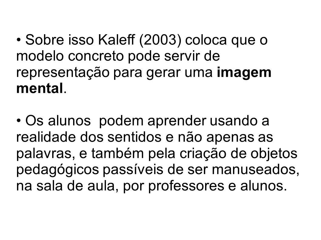 Sobre isso Kaleff (2003) coloca que o modelo concreto pode servir de representação para gerar uma imagem mental.