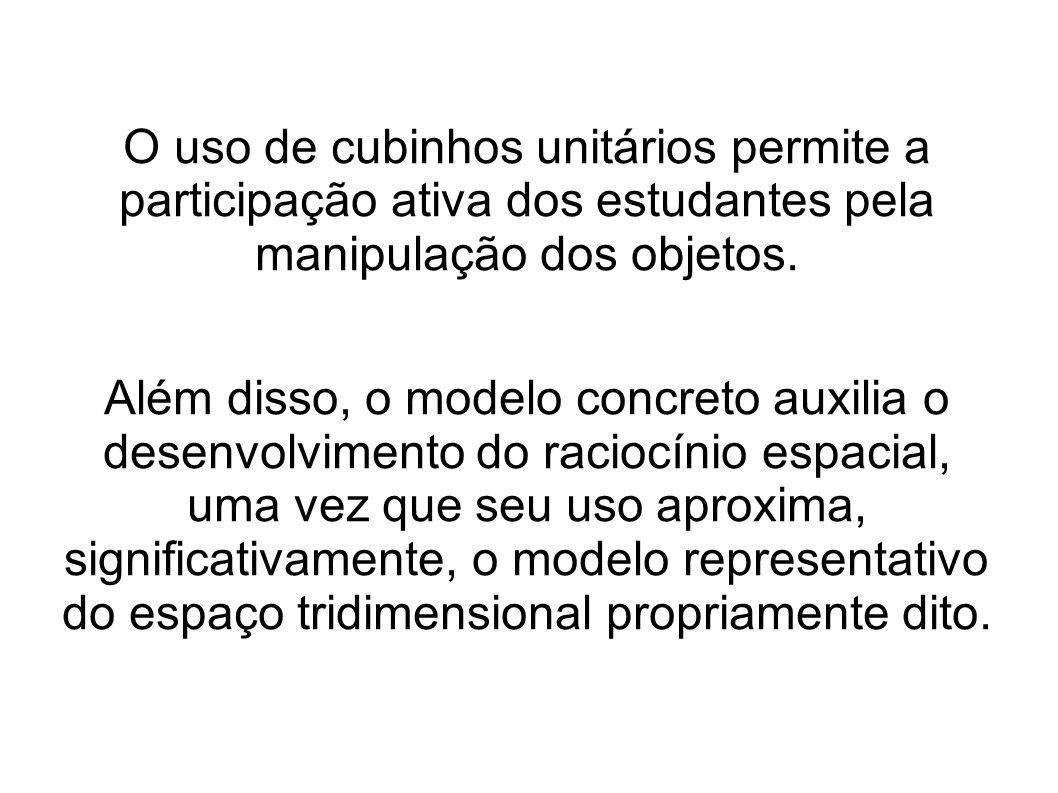 O uso de cubinhos unitários permite a participação ativa dos estudantes pela manipulação dos objetos.