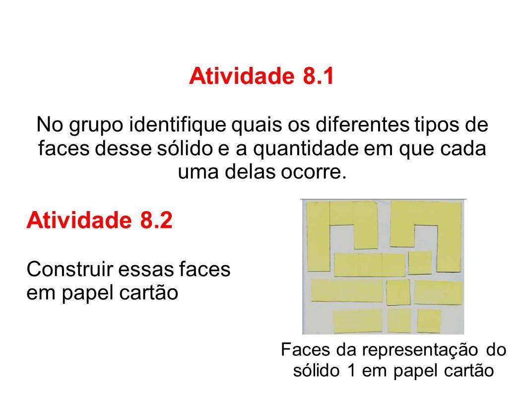 Atividade 8.1No grupo identifique quais os diferentes tipos de. faces desse sólido e a quantidade em que cada uma delas ocorre.