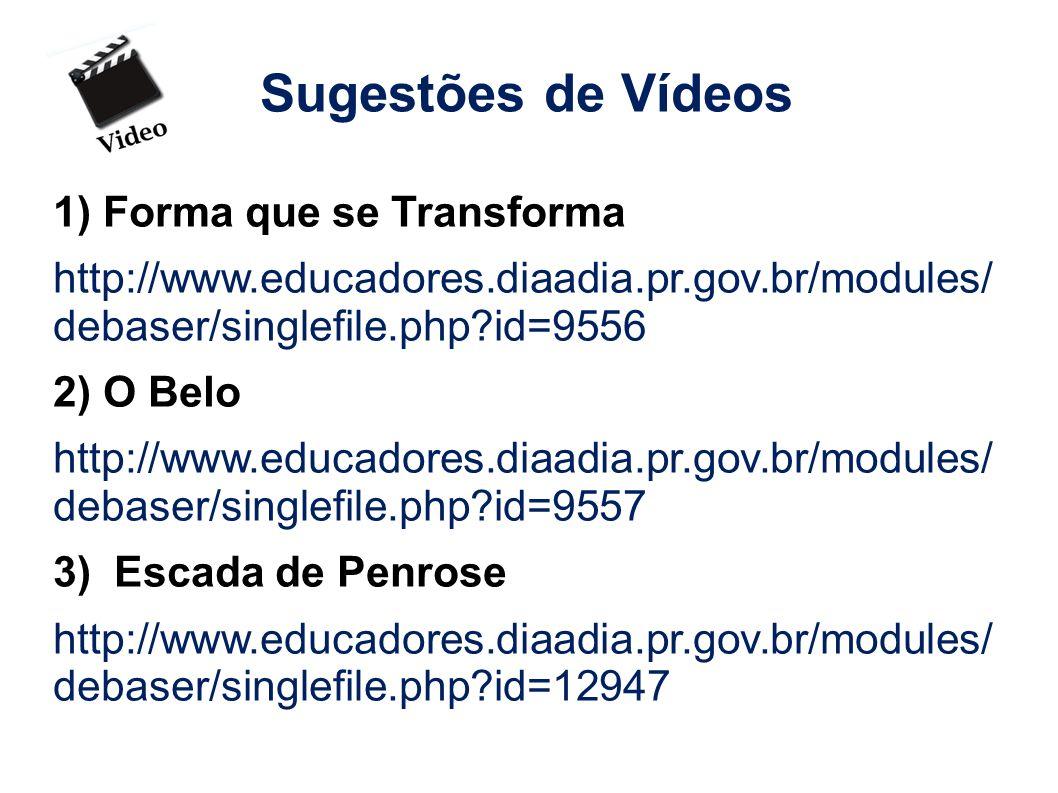 Sugestões de Vídeos 1) Forma que se Transforma