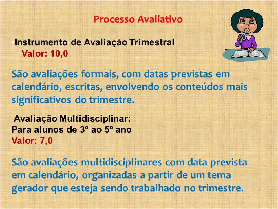 Processo Avaliativo Instrumento de Avaliação Trimestral. Valor: 10,0.