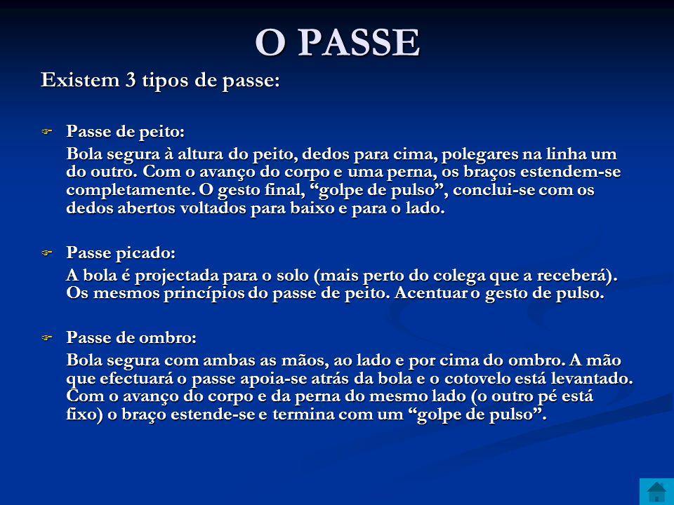 O PASSE Existem 3 tipos de passe: Passe de peito: