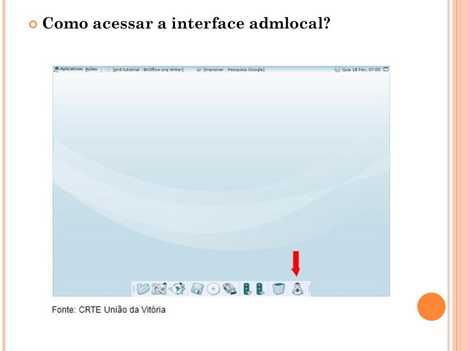 Como acessar a interface admlocal