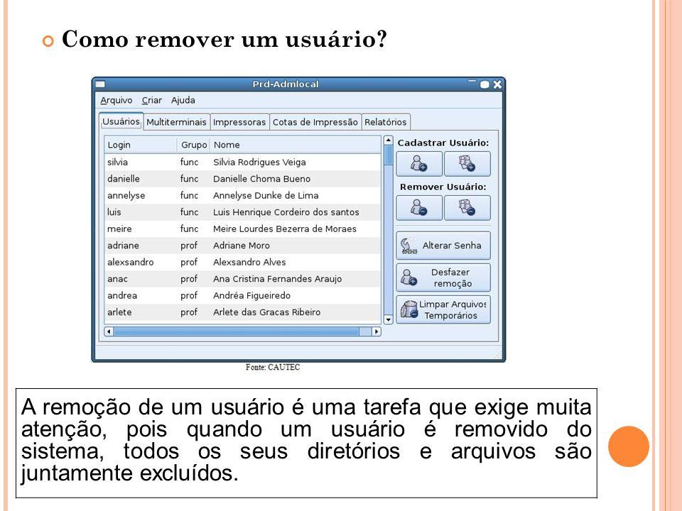 Como remover um usuário