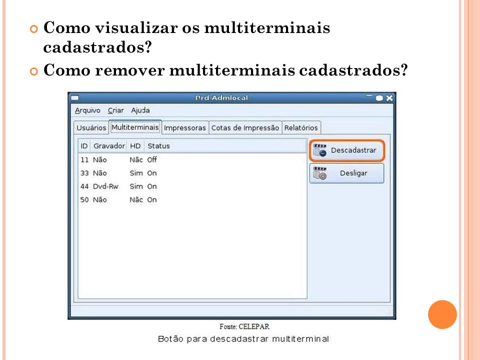 Como visualizar os multiterminais cadastrados
