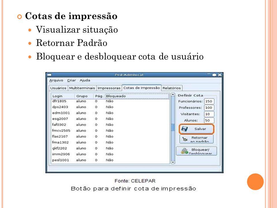 Cotas de impressão Visualizar situação Retornar Padrão Bloquear e desbloquear cota de usuário