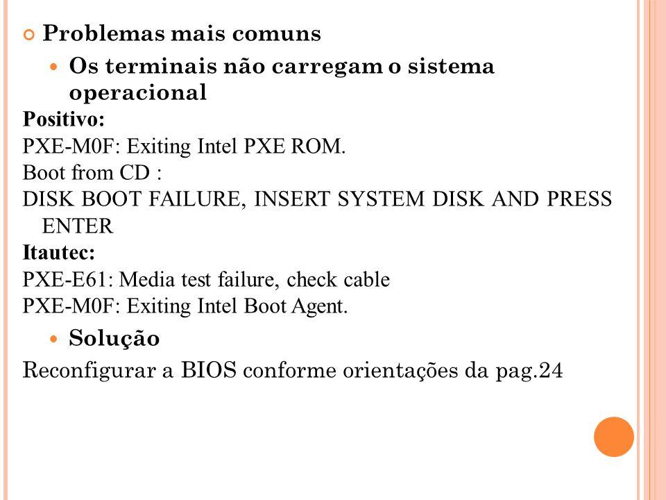 Problemas mais comuns Os terminais não carregam o sistema operacional. Positivo: PXE-M0F: Exiting Intel PXE ROM.
