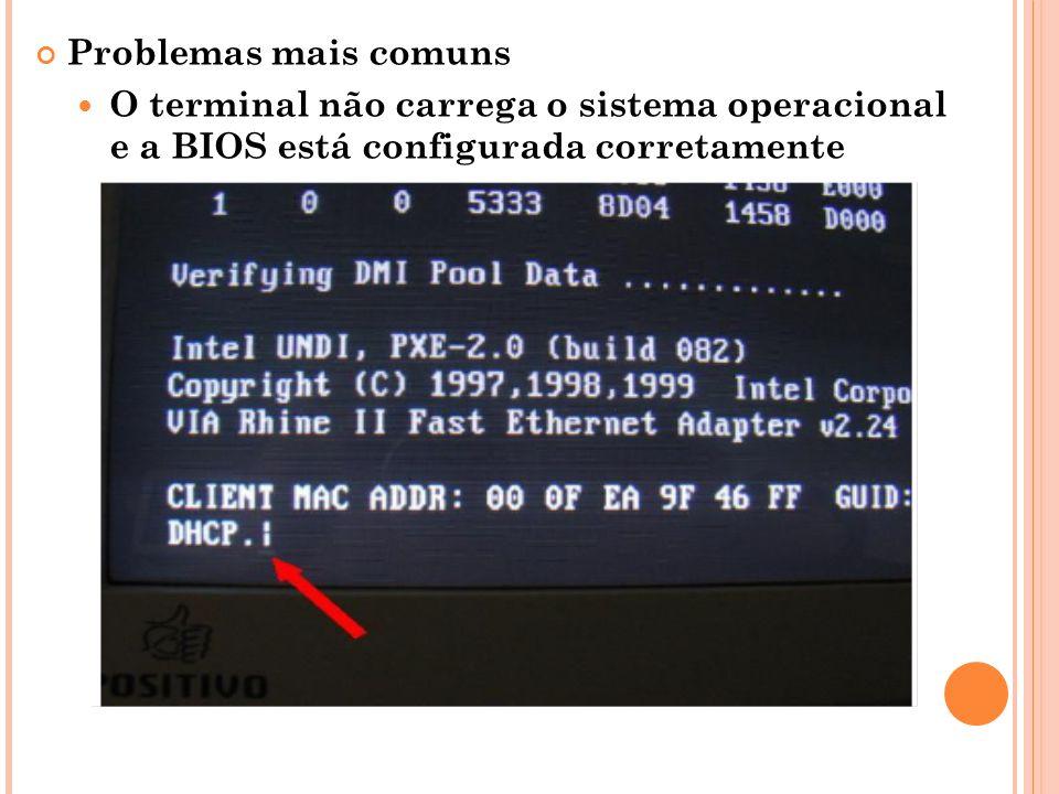 Problemas mais comuns O terminal não carrega o sistema operacional e a BIOS está configurada corretamente.