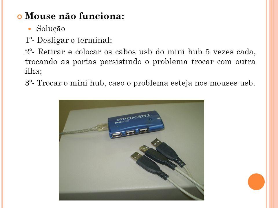 Mouse não funciona: Solução 1º- Desligar o terminal;