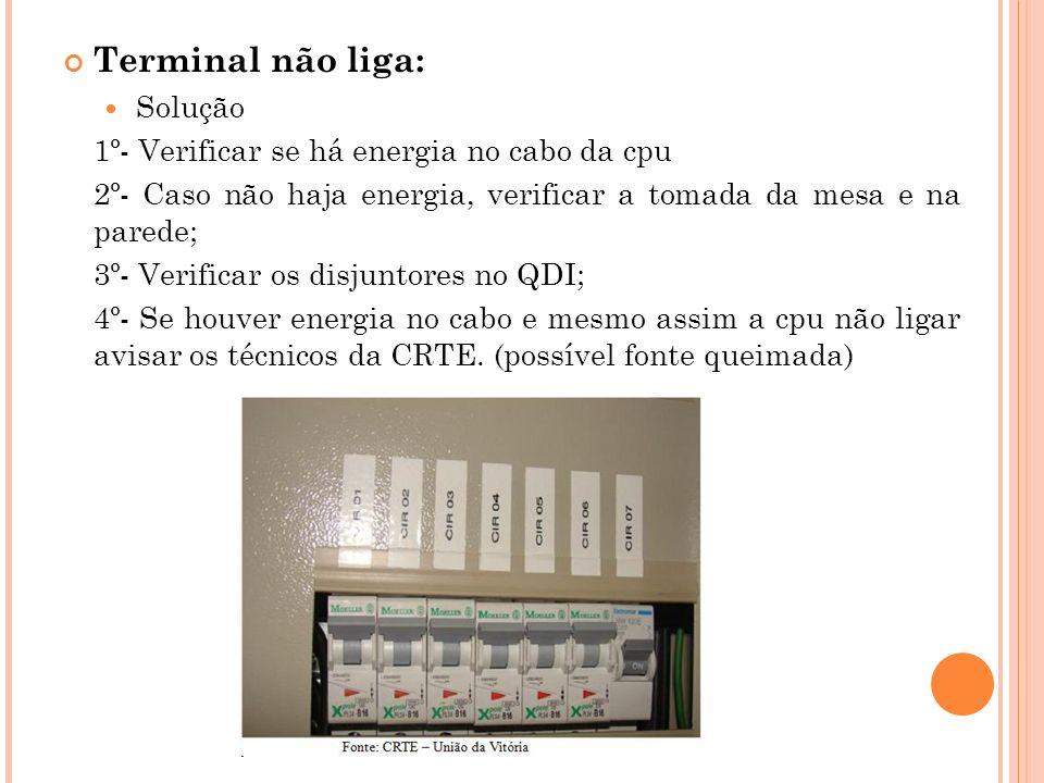 Terminal não liga: Solução 1º- Verificar se há energia no cabo da cpu