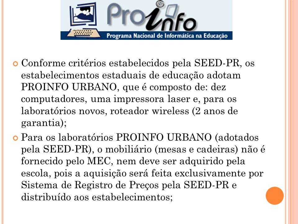 Conforme critérios estabelecidos pela SEED-PR, os estabelecimentos estaduais de educação adotam PROINFO URBANO, que é composto de: dez computadores, uma impressora laser e, para os laboratórios novos, roteador wireless (2 anos de garantia);