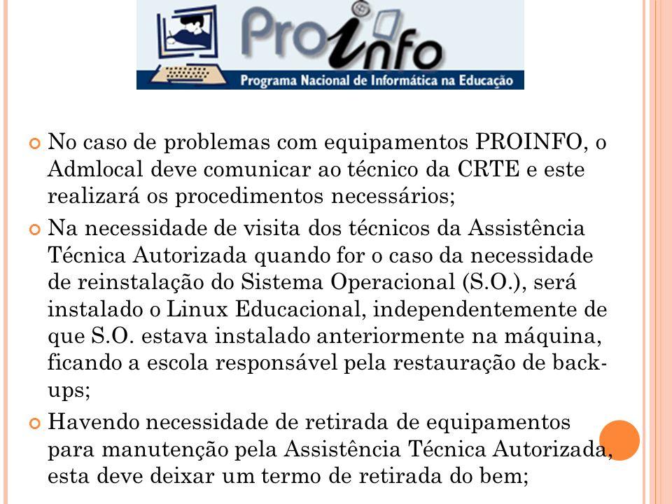 No caso de problemas com equipamentos PROINFO, o Admlocal deve comunicar ao técnico da CRTE e este realizará os procedimentos necessários;