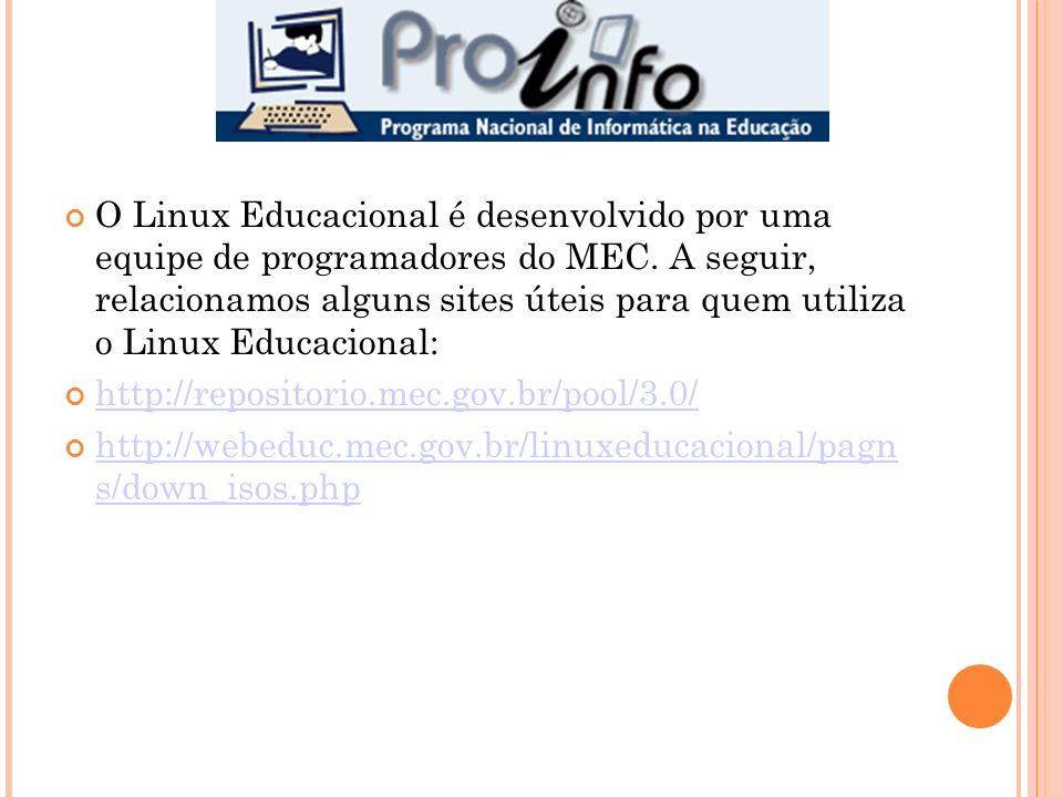 O Linux Educacional é desenvolvido por uma equipe de programadores do MEC. A seguir, relacionamos alguns sites úteis para quem utiliza o Linux Educacional: