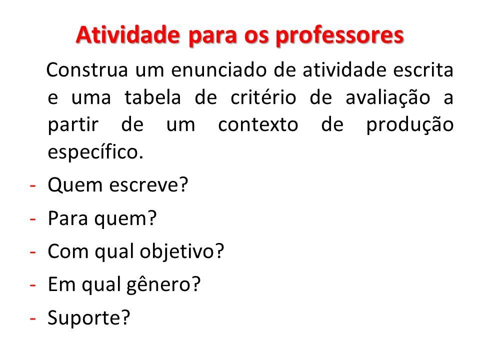 Atividade para os professores