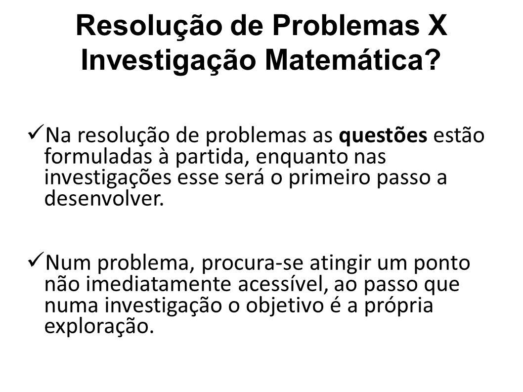 Resolução de Problemas X Investigação Matemática