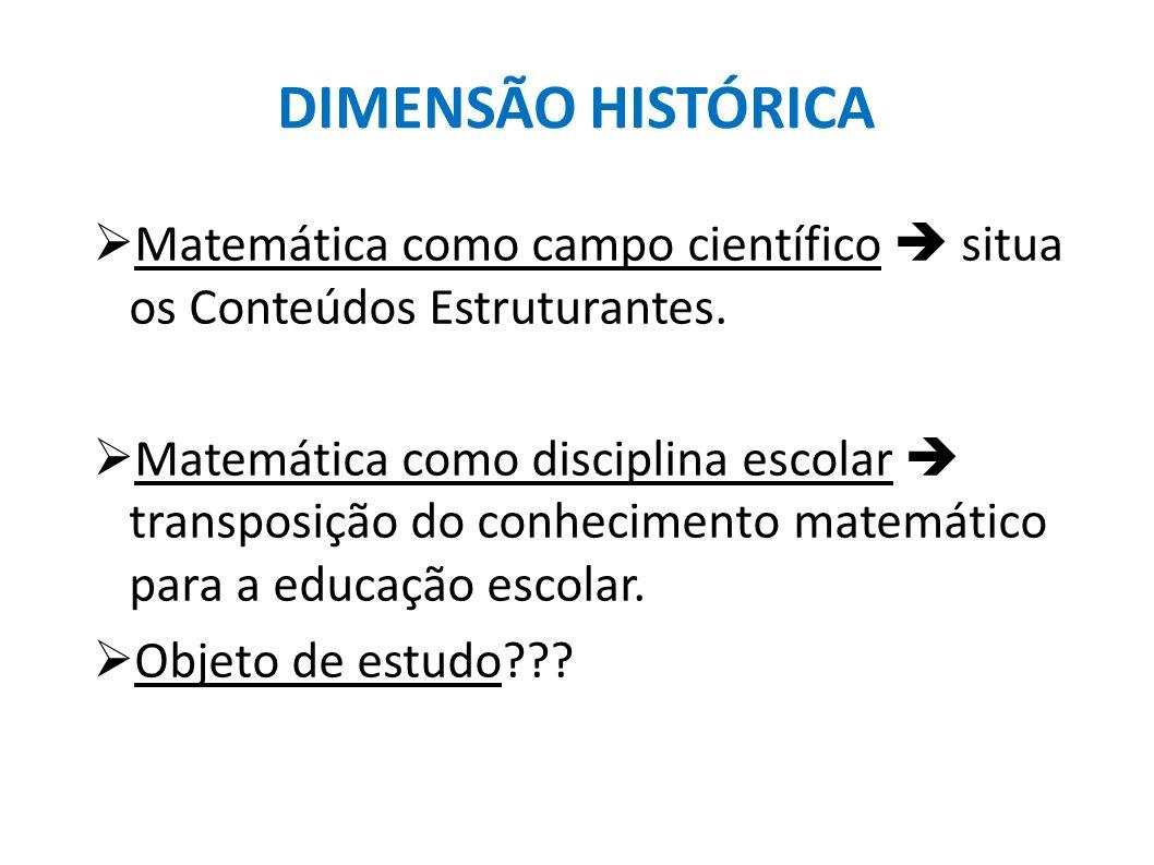 DIMENSÃO HISTÓRICA Matemática como campo científico  situa os Conteúdos Estruturantes.