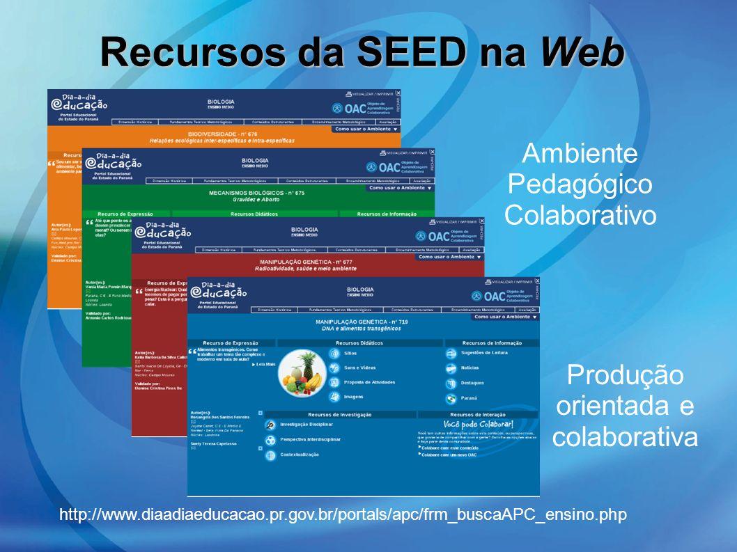 Recursos da SEED na Web Ambiente Pedagógico Colaborativo