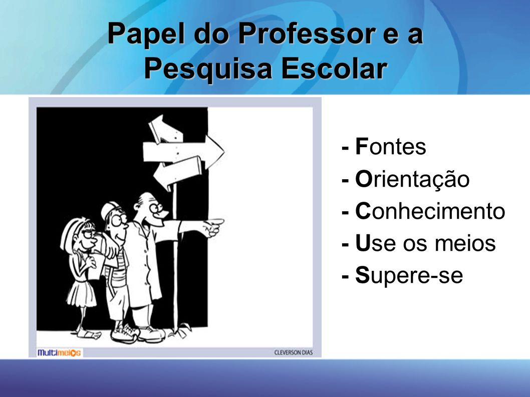 Papel do Professor e a Pesquisa Escolar