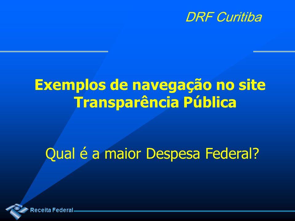 Exemplos de navegação no site Transparência Pública