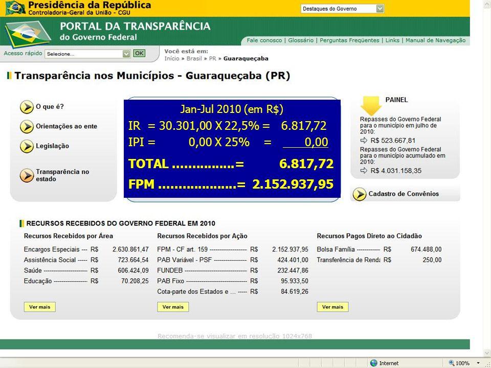 Jan-Jul 2010 (em R$) IR = 30.301,00 X 22,5% = 6.817,72. IPI = 0,00 X 25% = 0,00.