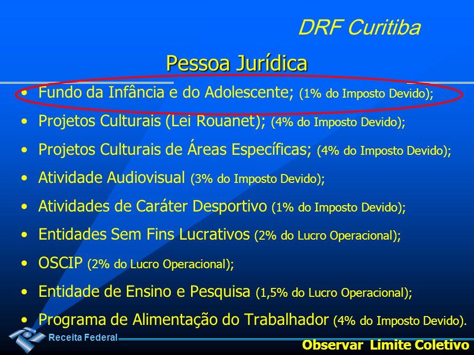 Pessoa Jurídica Fundo da Infância e do Adolescente; (1% do Imposto Devido); Projetos Culturais (Lei Rouanet); (4% do Imposto Devido);