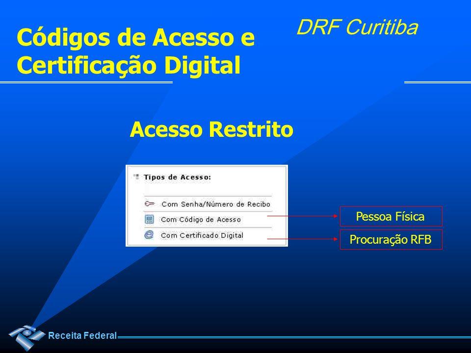 Códigos de Acesso e Certificação Digital