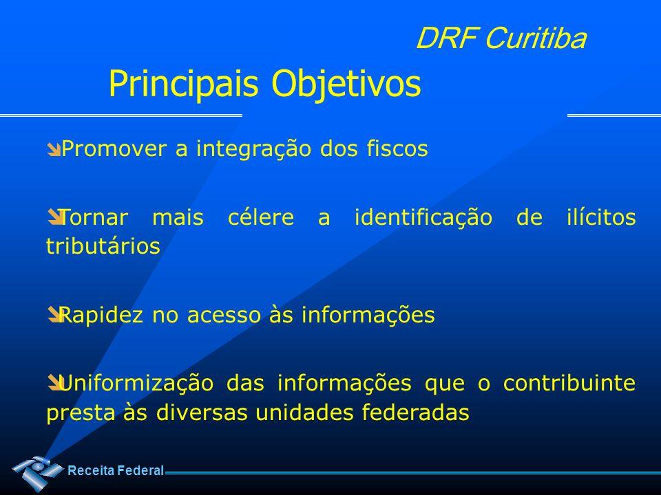 Principais Objetivos Promover a integração dos fiscos. Tornar mais célere a identificação de ilícitos tributários.