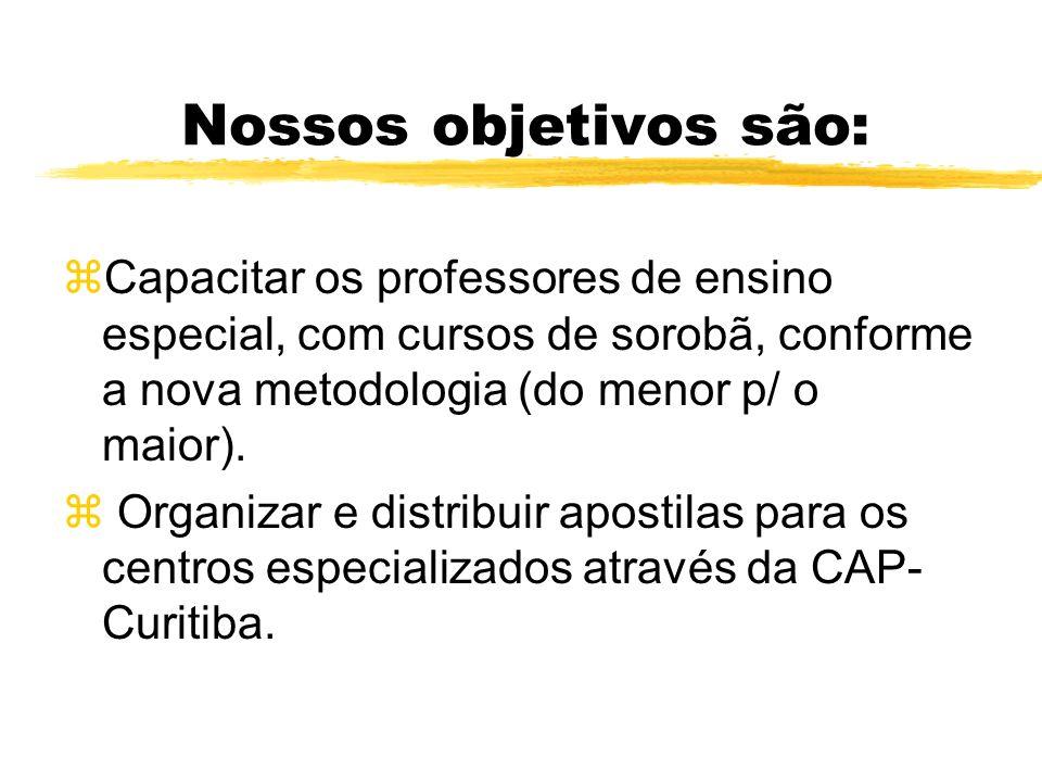 Nossos objetivos são: Capacitar os professores de ensino especial, com cursos de sorobã, conforme a nova metodologia (do menor p/ o maior).