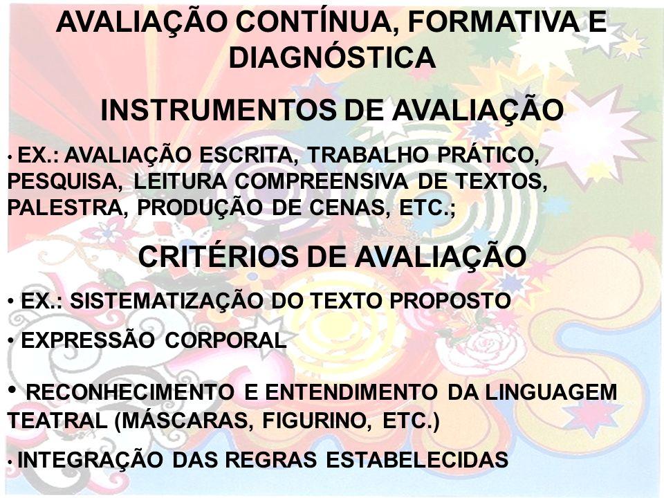 INSTRUMENTOS DE AVALIAÇÃO CRITÉRIOS DE AVALIAÇÃO