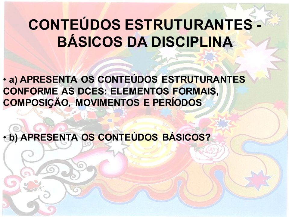 CONTEÚDOS ESTRUTURANTES - BÁSICOS DA DISCIPLINA