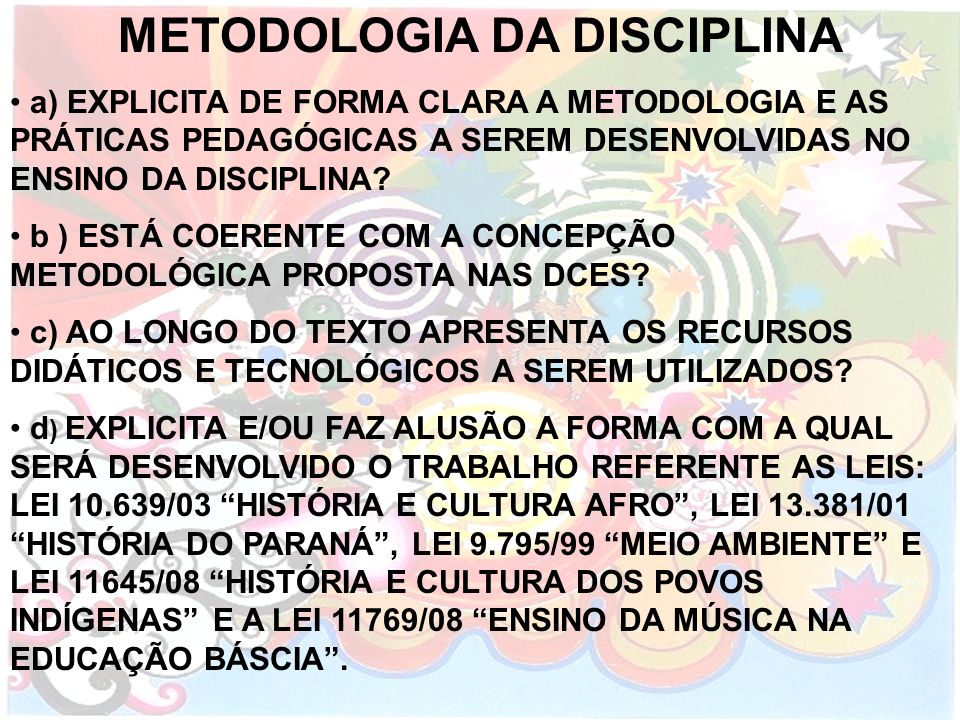 METODOLOGIA DA DISCIPLINA