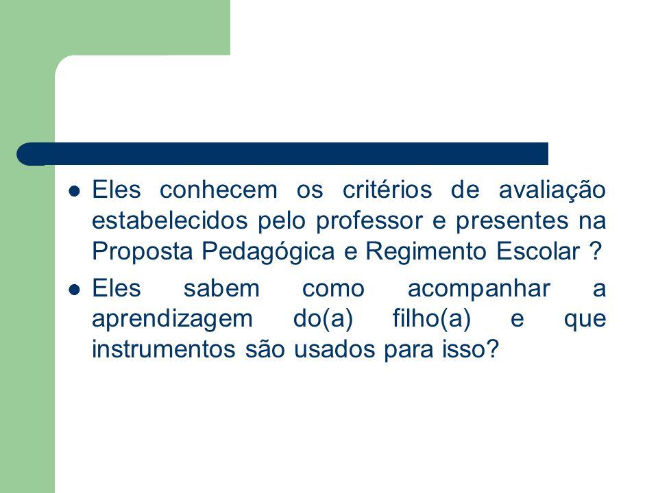 Eles conhecem os critérios de avaliação estabelecidos pelo professor e presentes na Proposta Pedagógica e Regimento Escolar