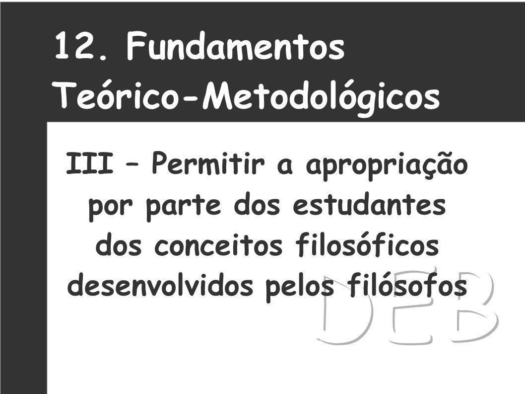 DEB 12. Fundamentos Teórico-Metodológicos