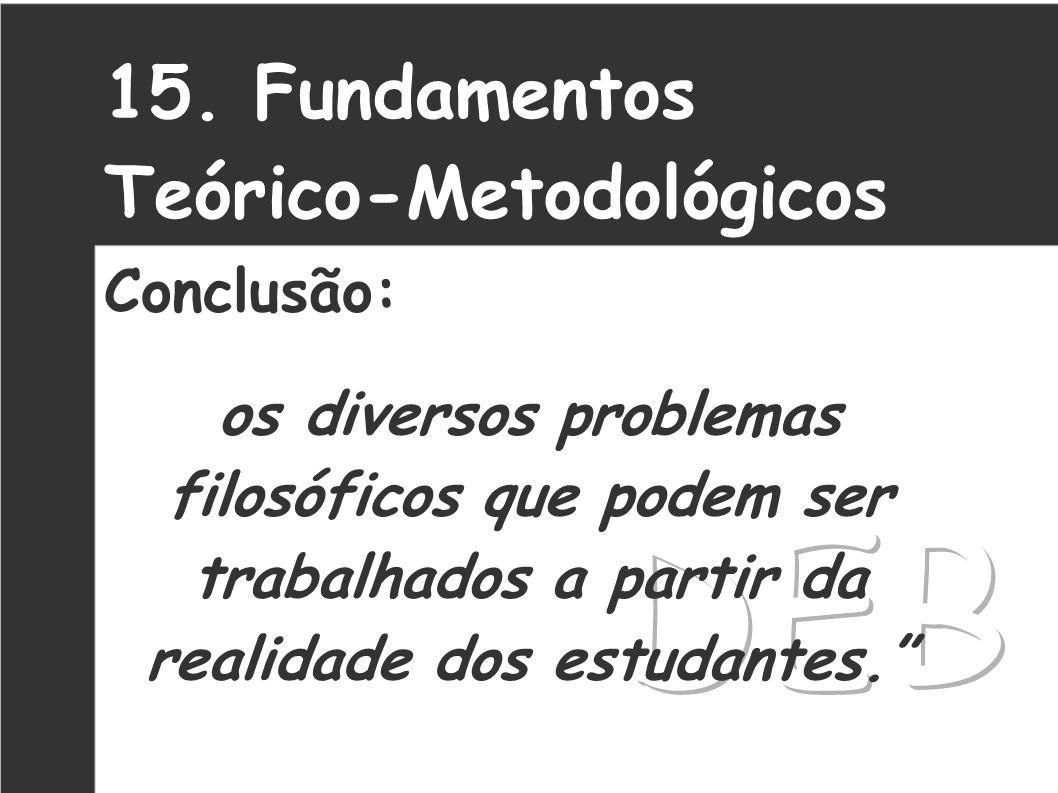 DEB 15. Fundamentos Teórico-Metodológicos Conclusão: