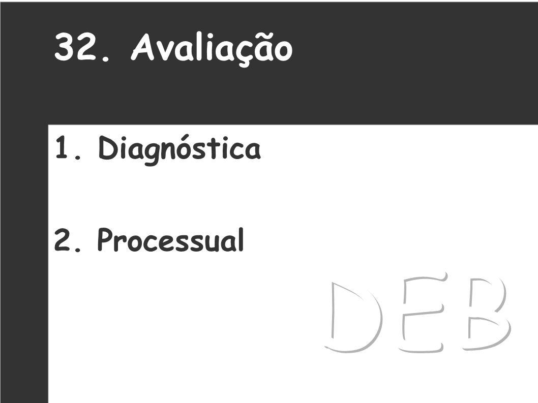 32. Avaliação 1. Diagnóstica 2. Processual DEB