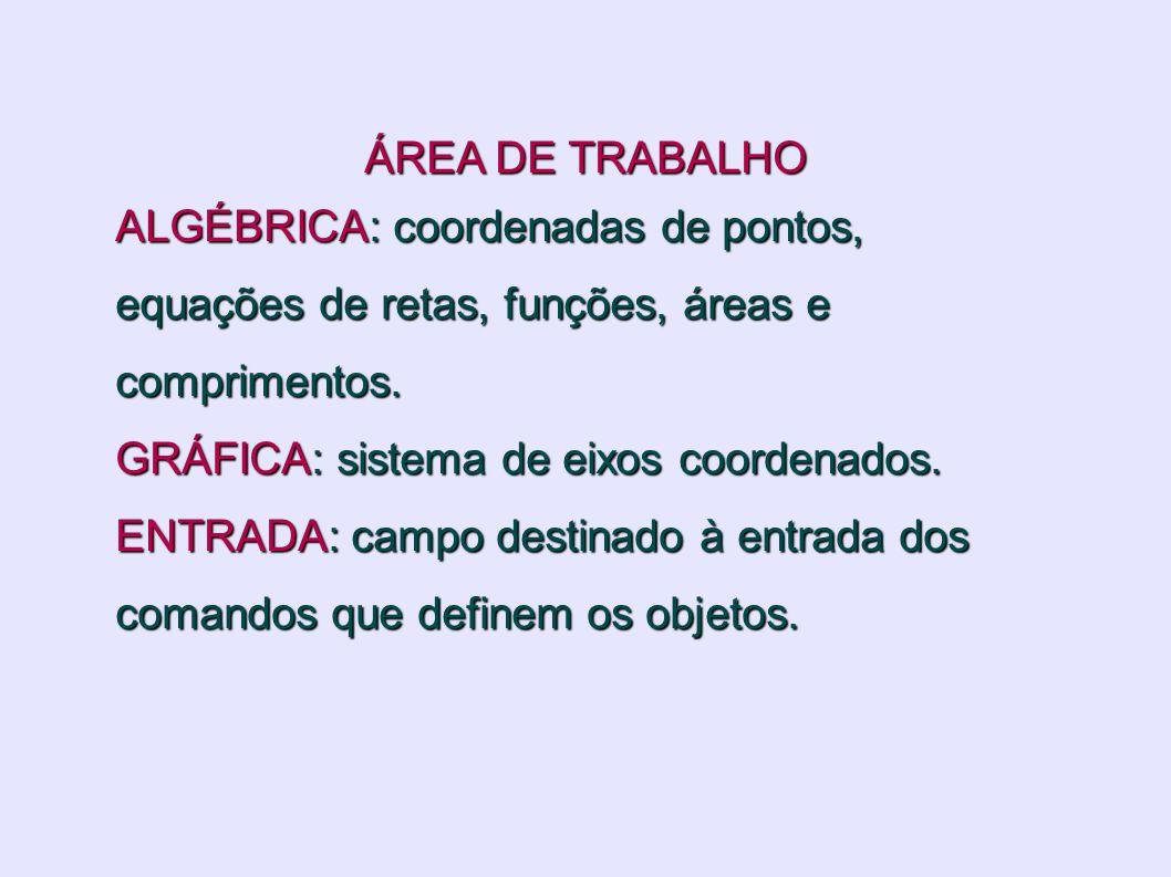 ÁREA DE TRABALHO ALGÉBRICA: coordenadas de pontos, equações de retas, funções, áreas e comprimentos.