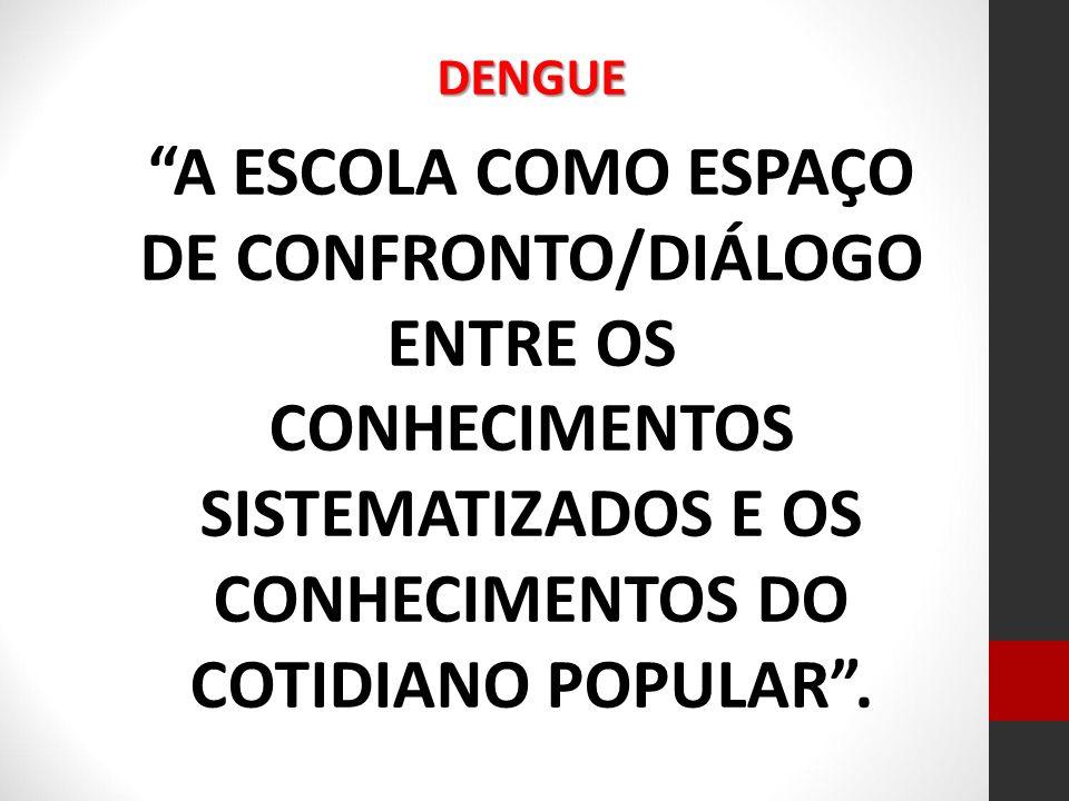 DENGUE A ESCOLA COMO ESPAÇO DE CONFRONTO/DIÁLOGO ENTRE OS CONHECIMENTOS SISTEMATIZADOS E OS CONHECIMENTOS DO COTIDIANO POPULAR .